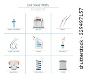 9 car parts flat icons 1 of 2... | Shutterstock .eps vector #329497157