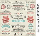 christmas label and design... | Shutterstock .eps vector #329497883