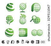 set of 9 icons with planet...