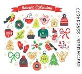 christmas advent calendar with... | Shutterstock .eps vector #329514077