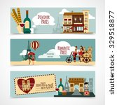 paris horizontal banner set... | Shutterstock .eps vector #329518877