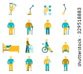 people with disabilities icons... | Shutterstock .eps vector #329518883