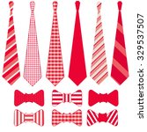 a set of red and white tie and... | Shutterstock .eps vector #329537507