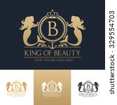 king of beauty logo  gold and... | Shutterstock .eps vector #329554703