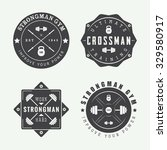 set of gym logos  labels and... | Shutterstock .eps vector #329580917