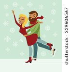 young couple skating on ice... | Shutterstock .eps vector #329606567