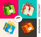 gift boxes   retro colored... | Shutterstock .eps vector #329611667