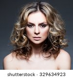 beautiful mid woman with curly... | Shutterstock . vector #329634923