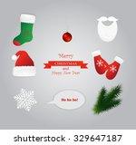 set of santa hat  mitten  boot  ... | Shutterstock .eps vector #329647187