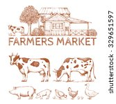 Set Of Vintage Retro Farm Logo...