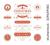 christmas labels and badges... | Shutterstock .eps vector #329659583