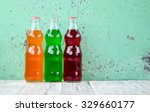 variety of soda bottle on the...