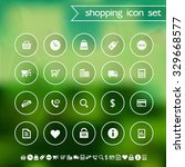 shopping icons on blurred...