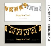 happy new year 2016 banners set ... | Shutterstock .eps vector #329687477
