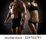 couple man and woman muscled... | Shutterstock . vector #329703797