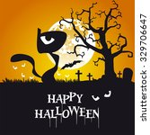 happy halloween black cat... | Shutterstock .eps vector #329706647