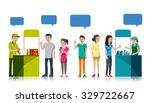 people queue to get free sample ... | Shutterstock .eps vector #329722667