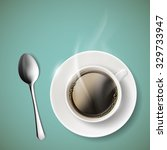 cup of coffee and spoon. stock... | Shutterstock .eps vector #329733947