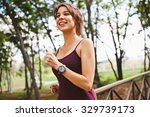 young attractive sporty smiling ... | Shutterstock . vector #329739173