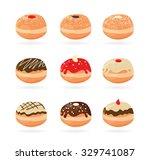 hanukkah doughnut   traditional ... | Shutterstock .eps vector #329741087