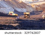 open coal mining pit with heavy ... | Shutterstock . vector #329762837