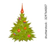 christmas pine decorated balls... | Shutterstock .eps vector #329764007