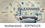 e learning concept with young... | Shutterstock . vector #329765123