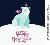 winter animal  white bear and ... | Shutterstock .eps vector #329797577