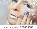 Snow Manicure With Silver Nail...