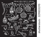 doodle set of mexican party... | Shutterstock .eps vector #329833193