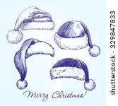 santa stocking hat set hand... | Shutterstock .eps vector #329847833
