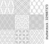 set of nine seamless damask... | Shutterstock .eps vector #329887373