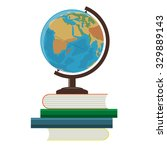 school globe and books on a... | Shutterstock .eps vector #329889143