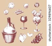 set with wine  chocolate ... | Shutterstock .eps vector #329896607