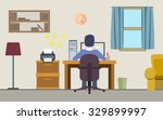 freelancer man working on his... | Shutterstock .eps vector #329899997