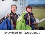 Parachutist Girl With Green An...