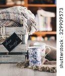 blankets in a vintage wooden... | Shutterstock . vector #329909573