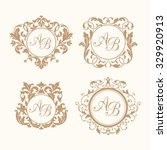 set of elegant floral monogram... | Shutterstock .eps vector #329920913