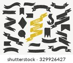 set of cute hand drawn banners. ... | Shutterstock .eps vector #329926427