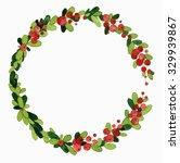 christmas watercolor wreath... | Shutterstock . vector #329939867