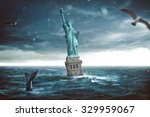 statue of liberty sinks in the... | Shutterstock . vector #329959067