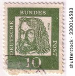 """Small photo of GERMANY - CIRCA 1961: A stamp printed in Germany shows portrait of Albrecht Durer (painter and engraver), with the same inscription, from the series """"Famous Germans"""", circa 1961"""