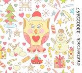 cute christmas seamless pattern ... | Shutterstock . vector #330022697