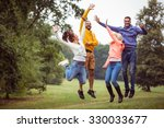 friends on a hike together in... | Shutterstock . vector #330033677