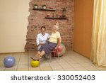senior woman sitting on a chair ... | Shutterstock . vector #330052403