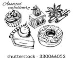 hand drawn set of pastry and...