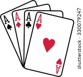 Four Aces Playing Cards Spades...