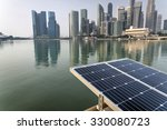 Solar Panel With Modern City...