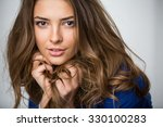 portrait of a beautiful brown... | Shutterstock . vector #330100283