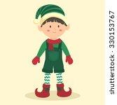 christmas elf boy with jumpsuit.... | Shutterstock .eps vector #330153767